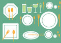 Set of table ware on green backgrounds,food backgrounds Royalty Free Stock Photo