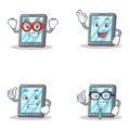 Set of tablet character with hero okay proud businessman