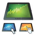 Set of tablet pc with graph on screen Royalty Free Stock Image
