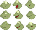 Set of tadpoles cartoons little green nice Stock Image