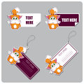 Set of tags and stickers with cartoon kitty.  Royalty Free Stock Photo