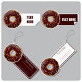Set of tags and stickers with donut.