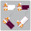 Set of tags and stickers with funny cartoon kitty vector Stock Photos