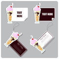 Set of tags and stickers with milkshake . Stock Photo