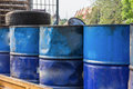 Set of tanks with oil and fuel transport by rail Royalty Free Stock Photo