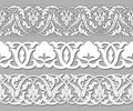 Set tape seamless plant patterns in ethnic national style of Uzbekistan, Asia. Vector illustration. Royalty Free Stock Photo