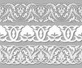 Set tape seamless plant patterns in ethnic national style of Uzbekistan, Asia. Vector illustration. Royalty Free Stock Photo