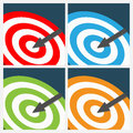 Set of target backgrounds four with arrow pointer in different colors Stock Photography