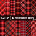 Set Tartan Seamless Pattern in red colors Royalty Free Stock Photo