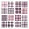 Set of 16 tartan seamless vector patterns. Checkered plaid texture. Geometrical square background for fabric Royalty Free Stock Photo