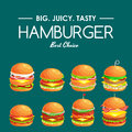 Set of tasty burger grilled beef and fresh vegetables dressed with sauce in bun for snack or lunch, hamburger is