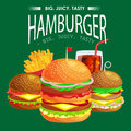 Set of tasty burgers grilled beef and fresh vegetables dressed with sauce bun for snack, american hamburger fast food