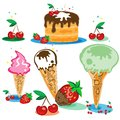 Set of tasty ice cream and cake Royalty Free Stock Image