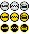 Set of taxi signs colorful with cab image Stock Photo