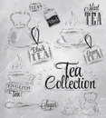 Set of tea collection coal with a cup and bags in vintage style stylized drawing with on blackboard Stock Images