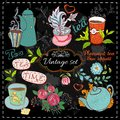 Set of tea collection with a cup and flowers in vintage style stylized drawing with chalk on blackboard Stock Photography