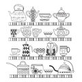 Set of tea collection with a tea pot tea cup jars jugs on the doodles abstract illustration shelves in black and white can use in Royalty Free Stock Photography