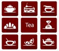 Set of tea icons with candy lemon cake croissant