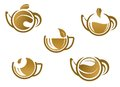 Set of tea icons and symbols for fast food or cafe design Royalty Free Stock Photo