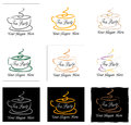 Set of tea party signs illustrated on white and black background Royalty Free Stock Image