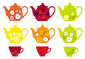 Set tea pots cups fruit mix vector design elements Stock Image