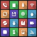 Set of technology icons with long shadow this is file eps format Royalty Free Stock Images