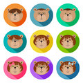 Set of teddy bears classmates flat icons. Drop shadow effect. Colorful avatar set of funny girls and boys. Vector illustration for