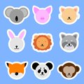 Set of Template Animals Stickers. Cat, Rabbit, Pig, Lion, Panda, Fox. Vector collection funny animals.
