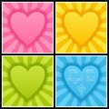 Set of Template with Bright Blue, Green, Pink and Yellow Hearts