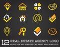 Set of Template logo for real estate agency or cottage town elit