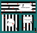Set Template with silhouette rabbit and red hearts. black and white striped background. valentines day. for media post