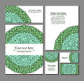 Set templates business cards and invitations with circular patterns