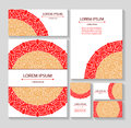 Set templates business cards and invitations with circular patterns of mandalas. Corporate style