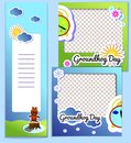 Set templates frame and flyer for Groundhog Day - stickers cartoon illustration with sun and clouds. Second February