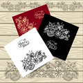 Set templates of  frames with doodle floral elements Royalty Free Stock Photo