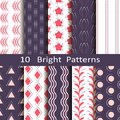 Set of ten bright patterns Royalty Free Stock Photo