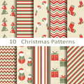 Set of ten christmas patterns vector Royalty Free Stock Image
