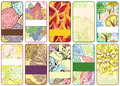 Set of ten colorful autumn cards beautiful illustration detailed drawing Stock Photo