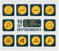 Set of ten different cryptocurrency