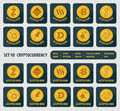 Set of ten different cryptocurrency icon