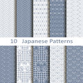 Set of ten japanese patterns vector Stock Photo