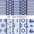 Set of ten sea patterns Royalty Free Stock Photo