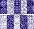 Ten classic seamless blue patterns.