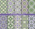 Set of ten classic seamless patterns in shades of blue and green.