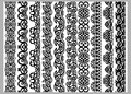 Set of ten seamless endless decorative lines. Indian decoration border  elements patterns in black and white colors.  Could be use Royalty Free Stock Photo