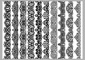 Set of ten seamless endless decorative lines. Indian decoration border elements patterns in black and white colors. Could be use