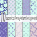 Set of ten seamless floral patterns. Blue, pink, green soft colors. Swatches of seamless patterns included in the file Royalty Free Stock Photo