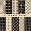 Set of ten seamless monochrome geometric patterns