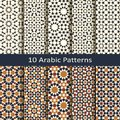 Set of ten seamless vector arabic traditional geometric patterns. design for covers, wrapping, textile, interior