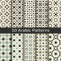 Set of ten seamless vector arabic traditional geometric patterns. design for covers, packaging, textile